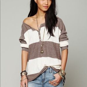 Free People Beach Gold Rush Striped Henley Top